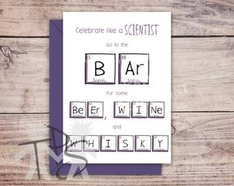 Printable Celebration card | Greetings Card Periodic Table | For Him | Unique Father's Day Card | Funny Congratulations Card | 5 x 7 inch
