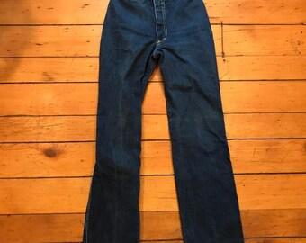 "Vintage Paul Jordan Jeans High Waist 70s 80s 22"" Waist Inseam 27"" Size 56"
