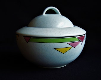 Mikasa Color Court Potter's Touch Sugar Bowl with Lid, Vintage Geometric Sugar Bowl with Lid