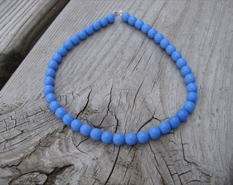 Periwinkle Blue Beaded Ankle Bracelet