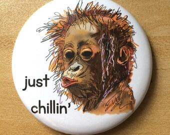 Orangutan Fridge Magnet Gift Boyfriend Girlfriend Monkey Chillin