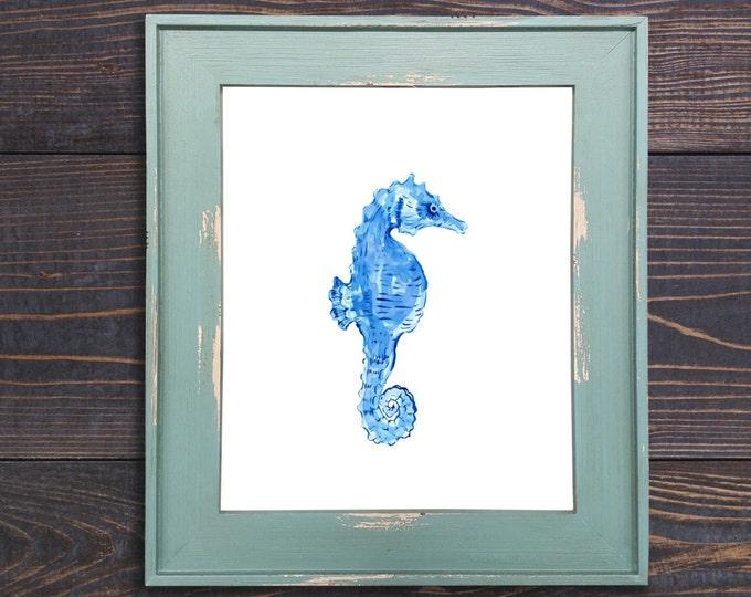 Watercolor Painting, Giclee Art Print, Seahorse Painting, Seahorse Watercolor, Gray and Blue, Nursery Art, Nautical Art, Nursery Wall Art