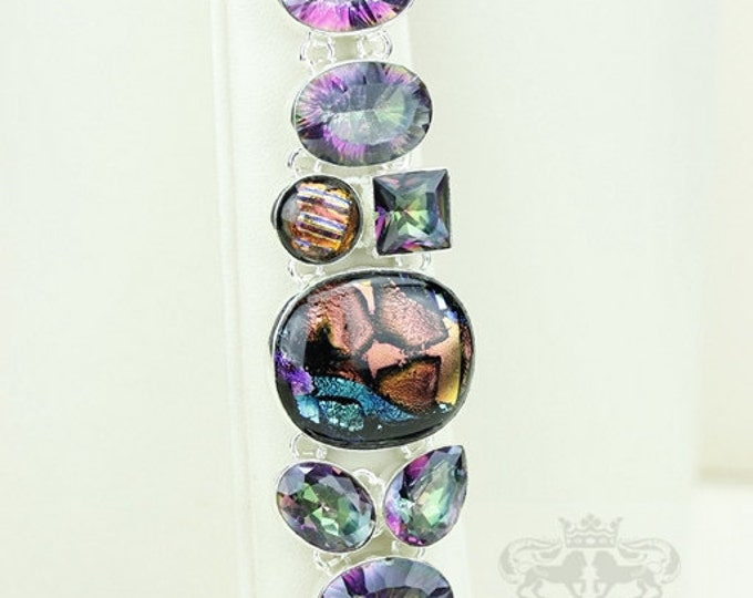 Genuine MYSTIC TOPAZ Double Capped Dichroic Glass 925 S0LID Sterling Silver Bracelet & FREE Worldwide Express Shipping B1770