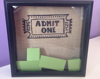 Ticket Holder Shadowbox---OPEN SLOT at TOP!