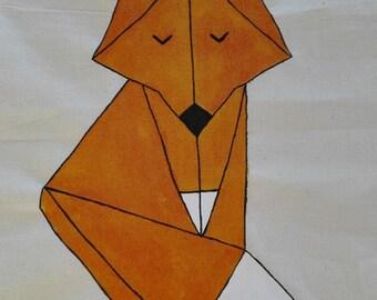 Origami de sac de jute Fox, main peinte