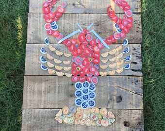 Lobster Beer Cap Art/ man cave decor/ beach decor/ river decor/ fishing decor/ reclaimed wood sign