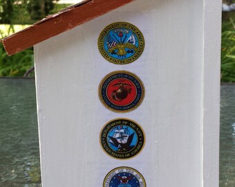 Handcrafted Metallic Detailed Armed Forces Birdhouse~Army, Air Force, Navy, Marines, Coast Guard~Wildlife~Nature~Garden~Yard~Tree Art~