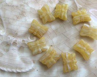 Czech Glass Butterfly Beads - Lemon Yellow, White - Mixed, Striped, Variegated - 15 mm -  Qty 8