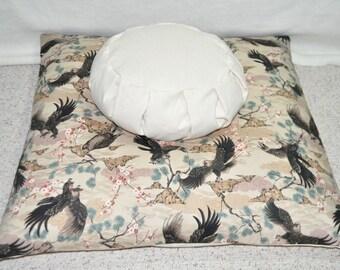 Meditation Cushions Handcrafted Zafu and Zabuton Soaring Raptors Blossoms and Pines