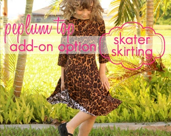 Girls Peplum Top - Skater Skirt Add-on - INSTANT DOWNLOAD - nb through 14 + doll - pdf sewing pattern