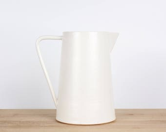 White Water Pitcher  |  Gift for her  |  Modern wedding gift  |  Home decor  |  Gift for Mom  | Bedside carafe | Kitchen decor | Table decor