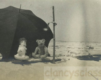 vintage photo 1913 Teddy Bear & Doll toy Under umbrella on Rockaway Beach NY
