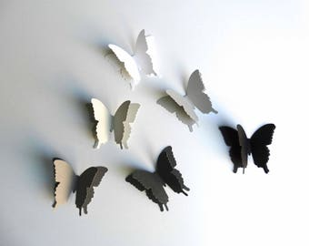 3D Paper Butterflies, formal party decor, wedding butterflies, white grey black butterflies, anniversary party