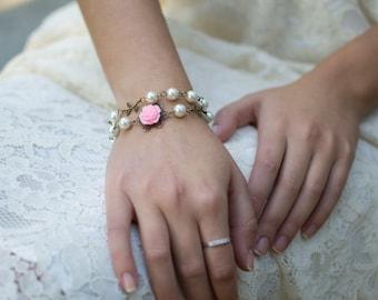 Double Wrap Bracelet, Flower Bracelet, Flower Girl Bracelet, Flower Girl Gift, Bridesmaids Jewelry, Bridesmaids Bracelet, Shabby Chic Gifts