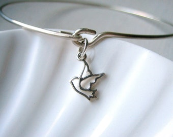 Dove Bangle Bracelet  - Peace & Hope - Sterling Silver Bangle - Stacking Bracelet