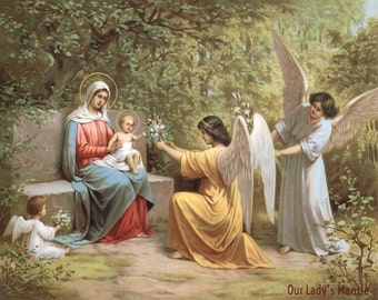 Virgin Mary & Child Jesus with Angels 10 x 8 Catholic Religious Picture Print Art