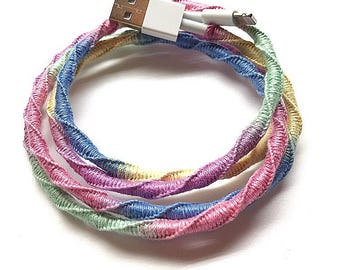 iPhone/iPad lightning cable charger/USB or iphone Earphones/EarPods with Mic. No tangle handmade macrame wrapped charger or EarPods