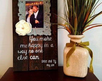 Customized and Rustic Hand-Painted Couple Wall Decor with Framed Photograph and Love Quote