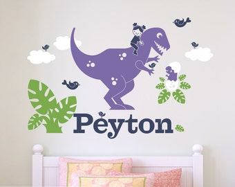 T-Rex Dinosaur Wall Decal Girl Name Personalized Cute Dino Baby Nursery Theme Room Decor