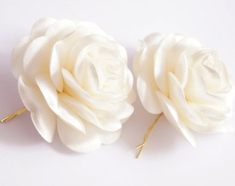 Ivory Satin,  ivory Flower, Wedding Bobby Pin