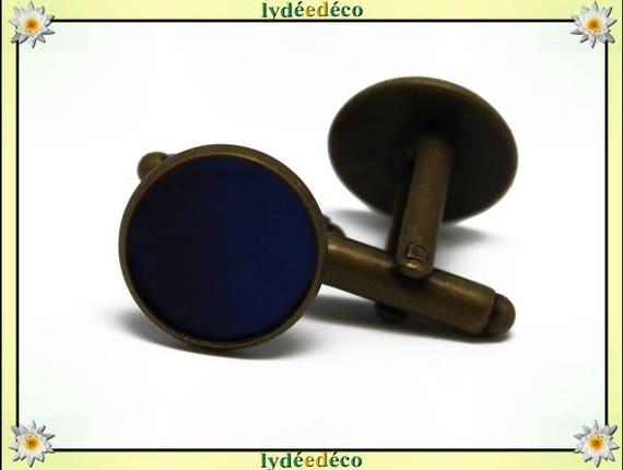 2 retro suit cuff links, resin blue Ultramarine brass bronze 14mm