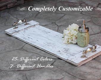 Rustic Bath Tray, Distressed Bath Caddy, Wooden Tray, Bathroom Decor, Farmhouse Decor, Gifts For Her, Bath Tray With Handles, Wedding Gift
