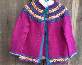 Little Girls Wool Cardigan, Bright Pink Cardigan with Colorful Yoke Pattern