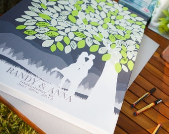 Wedding Poster - Signature Tree Guestbook,Personalized Canvas or Print Skyline & Silhouette Keepsake // Signature Guestbook // W-T05-1PS HH3