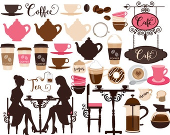 Coffee clipart coffeeshop clip art cafe tea clip art tea party latte cappuccino espresso teacups teapot digital clipart for scrapbooking