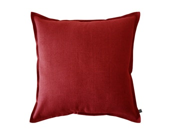 Large red linen pillow cover, 26 x 26 inch pillow cover, Red accent pillow, Red throw pillow, Red sofa pillow, Square pillow cover Red
