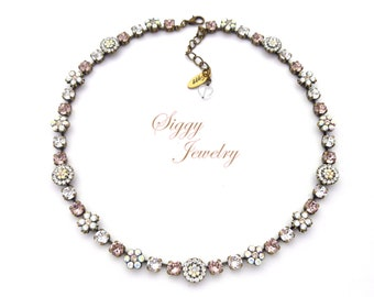 Swarovski® Crystal Necklace, Victorian Style, Heirloom Flower Embellished, 6mm Vintage Rose, Crystal Moonlight, AB, GENEVIEVE