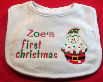Personalized First Christmas Santa Bib