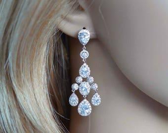 Gorgeous Vintage Inspired Fancy Cut Cubic Zirconia CZ Halo Chandelier Earrings, Bridal, Weddings (Sparkle-2802)