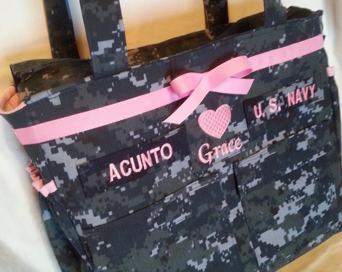 Anchor Navy Baby Diaper bag handmade custom embroidery Available in Army Marine Air Force Multicam personalized diaper bag