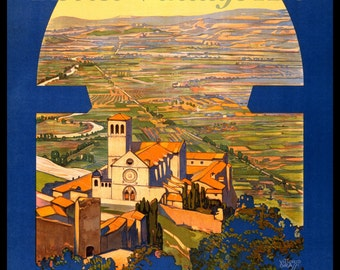 Assisi Vintage 1920s Travel Poster - Tru Giclee Artist's Print
