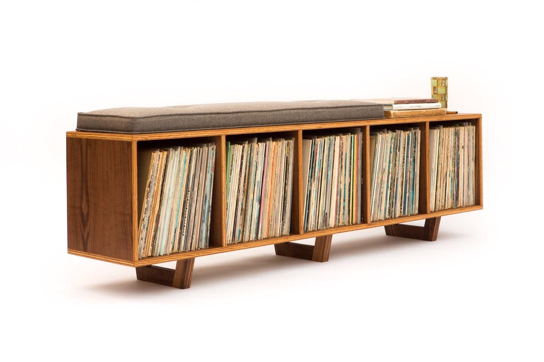 🔎zoom. vinyl lp storage bench lofi edition with mid century modern
