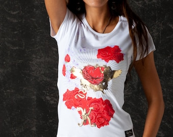 Glam Rock Women t-shirt Angel and Roses White Color Cool Urban Clothing Flower Design Unique Women Clothing