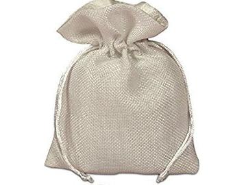 "White Burlap Drawstring Bag, 4 3/4"" x 6 1/4"", pack of 12"