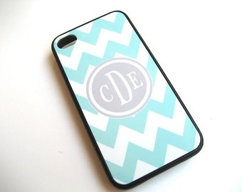Blue and White Chevron iPhone Case with Gray Monogram  - iPhone Cover- Blue and Gray - Flexible BLACK Rubber Case