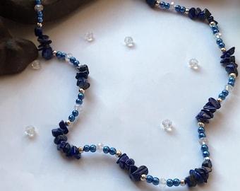 Lapis Lazuli Chip Necklace, Lapis Necklace, Lapis Lazuli Necklace, Lapis and Crystal Necklace, Healing Necklace, Natural Stone Necklace