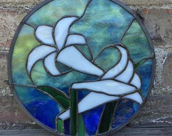 Stained Glass White Easter Lily Window Hanging