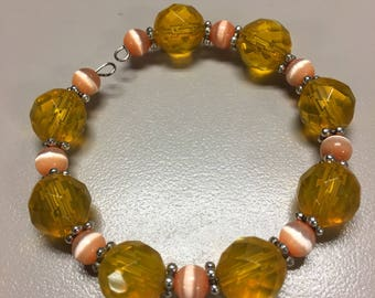 Amber and peach chunky beaded bracelet