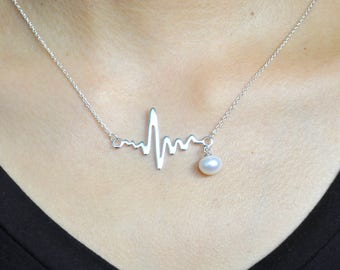 Wedding Gift Heartbeat Necklace Heart Monitor Necklace ECG Necklace EKG Necklace Heart Beat Necklace Gift for Girls Mom Wife Sisters