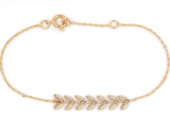 Fishbone bracelet, fishbone chain, friendship bracelet - Gold fill