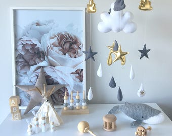 Baby Mobile / Grey, Gold and White