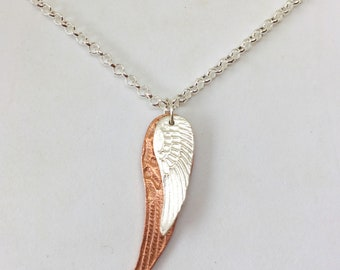 Angel wing necklace for women Silver Angel wing jewelry Angel wing jewellery Guardian angel wings charm Angel pendant Gift for her
