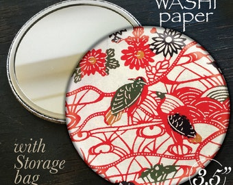 "WASHI handmade paper large 3.5"" pocket mirror japanese RED paper cosmetic mirror make up mirror CRANE"