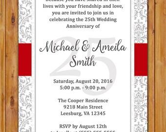 Silver 25th Wedding Anniversary Invitation 10th 15th 50th Red Grey Silver Damask Invite Printable 5x7 Digital JPG File (548)
