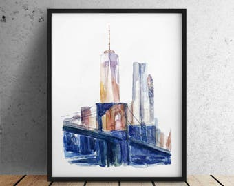 INSTANT DOWNLOAD / City print Big sizes New York print / New York City print / Brooklyn Bridge / New York Skyline / New York watercolor
