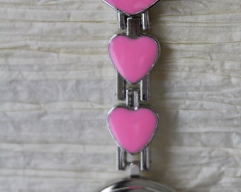 Nurses clip on watch (pink)